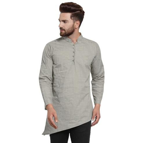 Charming Grey Colored Festive Wear Cotton Short Kurta with Asymmetric Hem