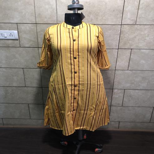 Opulent Yellow Colored Casual Foil Printed Cotton Kurti