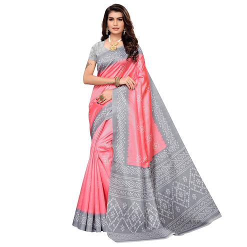 Intricate Pink Colored Casual Printed Zoya Silk Saree