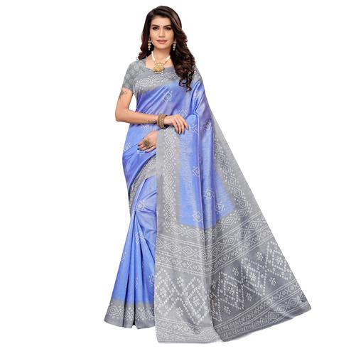 Arresting Blue Colored Casual Printed Zoya Silk Saree
