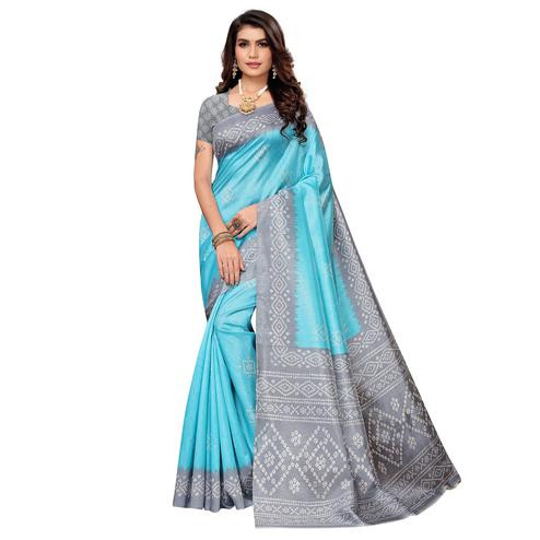 Desirable Sky Blue Colored Casual Printed Zoya Silk Saree