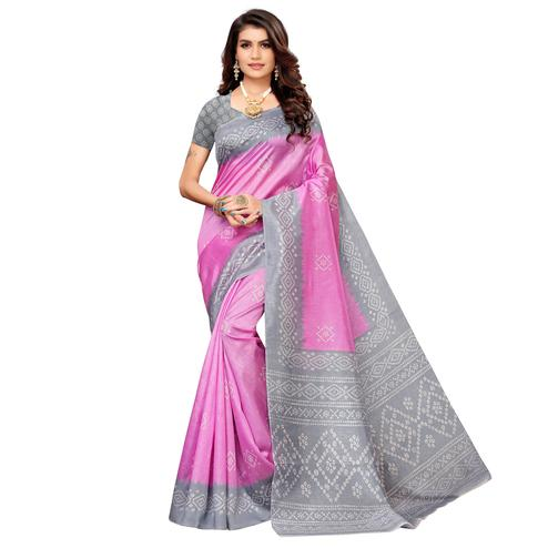 Exotic Rani Pink Colored Casual Printed Zoya Silk Saree