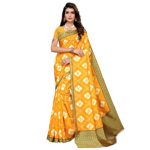 Trendy Yellow Colored Casual Printed Zoya Silk Saree