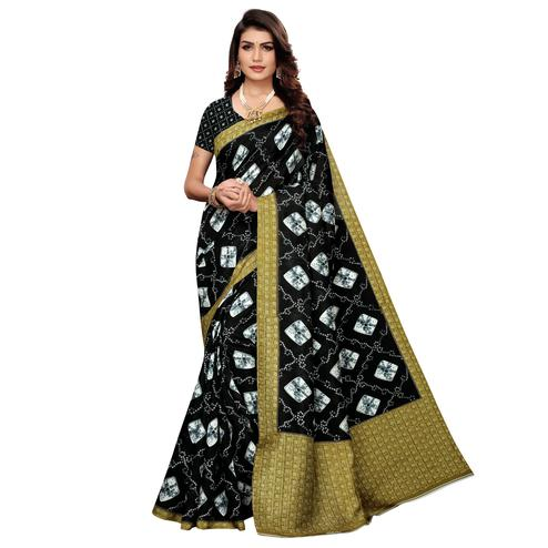 Elegant Black Colored Casual Printed Zoya Silk Saree