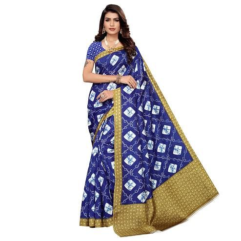 Radiant Blue Colored Casual Printed Zoya Silk Saree