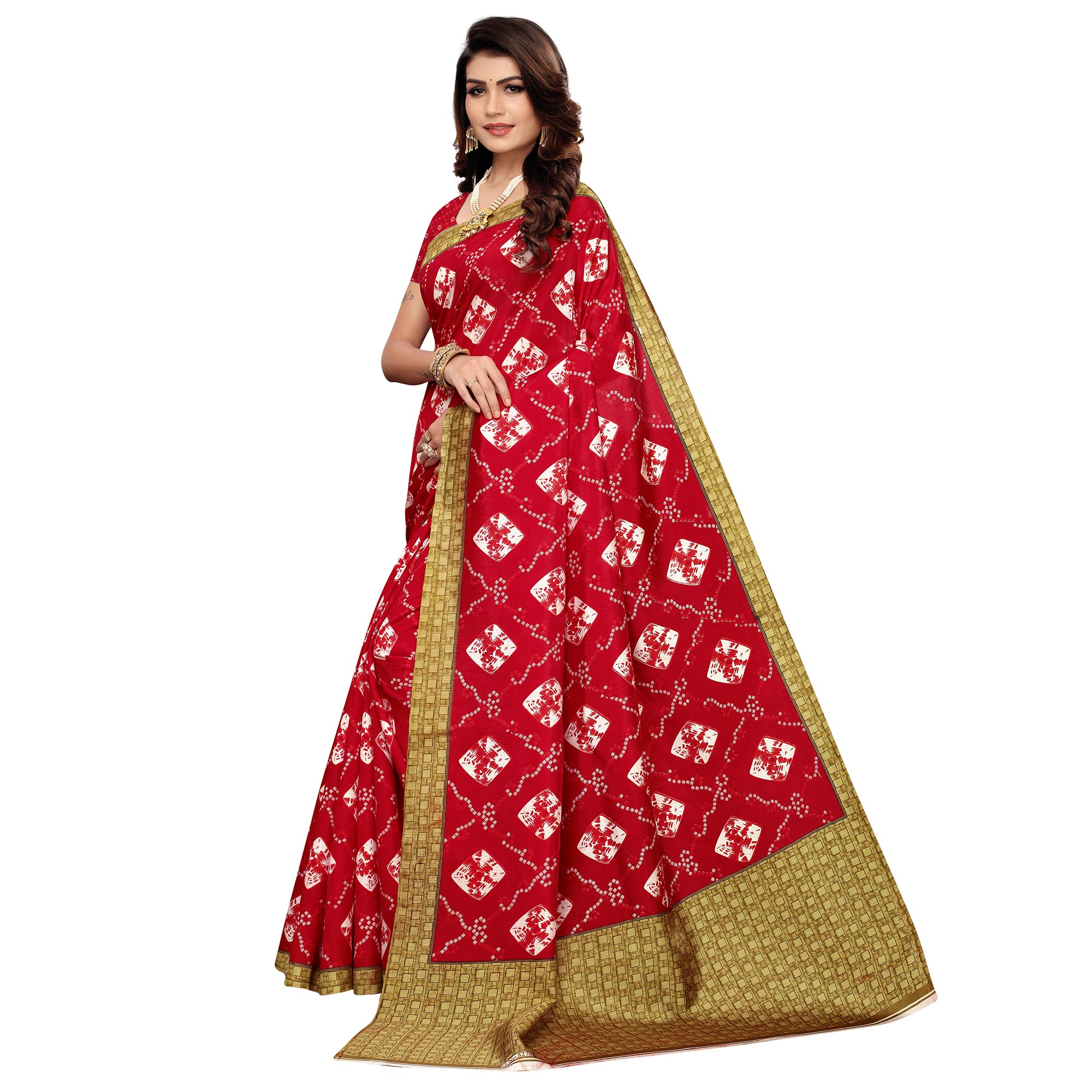 Pleasant Red Colored Casual Printed Zoya Silk Saree