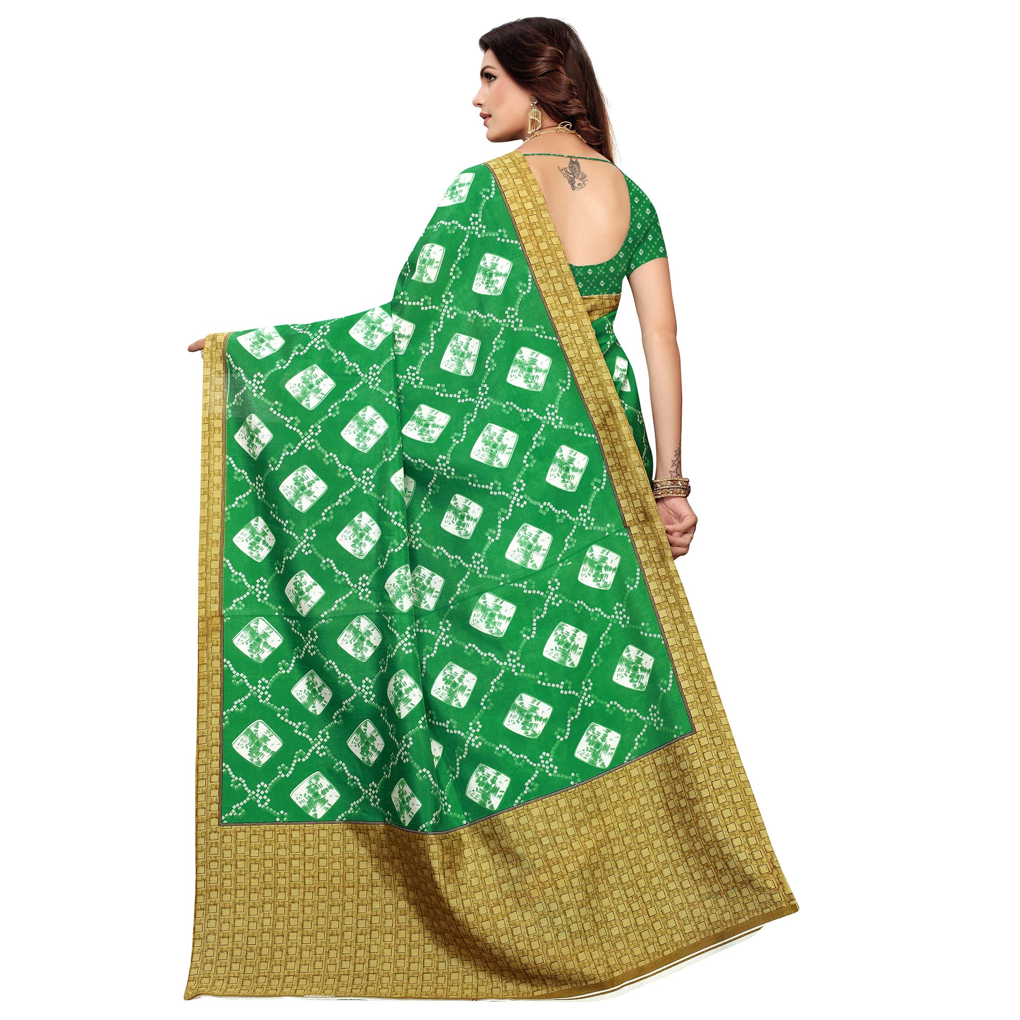 Opulent Green Colored Casual Printed Zoya Silk Saree