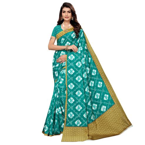 Energetic Turquoise Green Colored Casual Printed Zoya Silk Saree