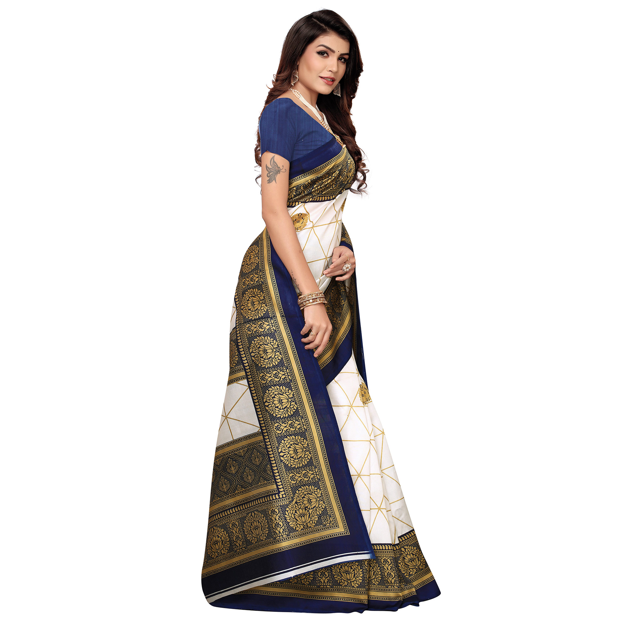 Mesmeric White-Navy Blue Colored Festive Wear Printed Mysore Art Silk Saree