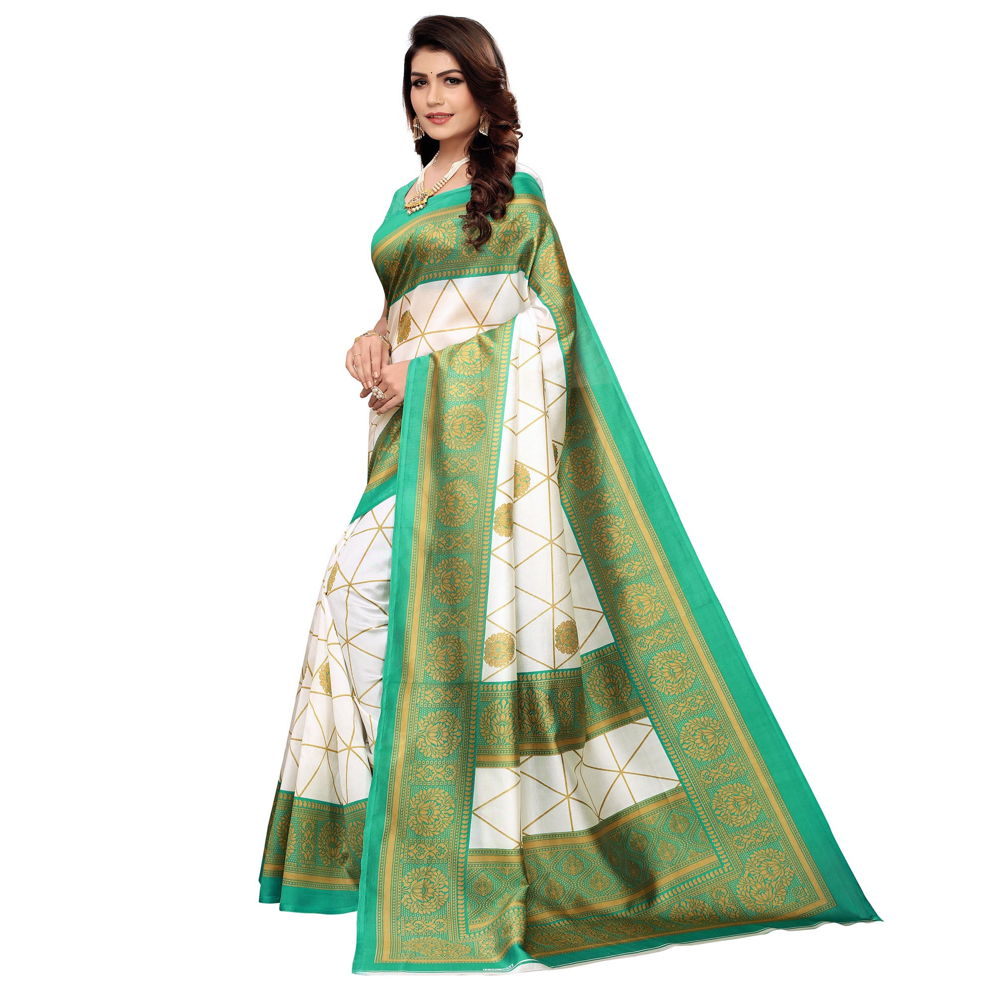 Unique White-Turquoise Green Colored Festive Wear Printed Mysore Art Silk Saree