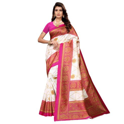 Demanding White-Pink Colored Festive Wear Printed Mysore Art Silk Saree