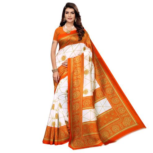 Refreshing White-Orange Colored Festive Wear Printed Mysore Art Silk Saree