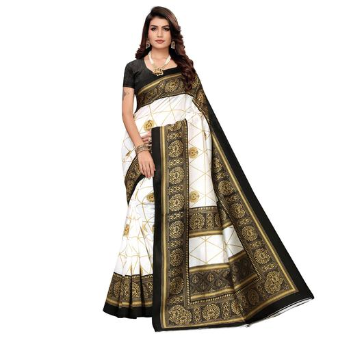 Magnetic White-Black Colored Festive Wear Printed Mysore Art Silk Saree