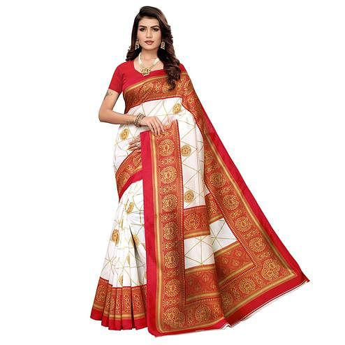 Hypnotic White-Red Colored Festive Wear Printed Mysore Art Silk Saree