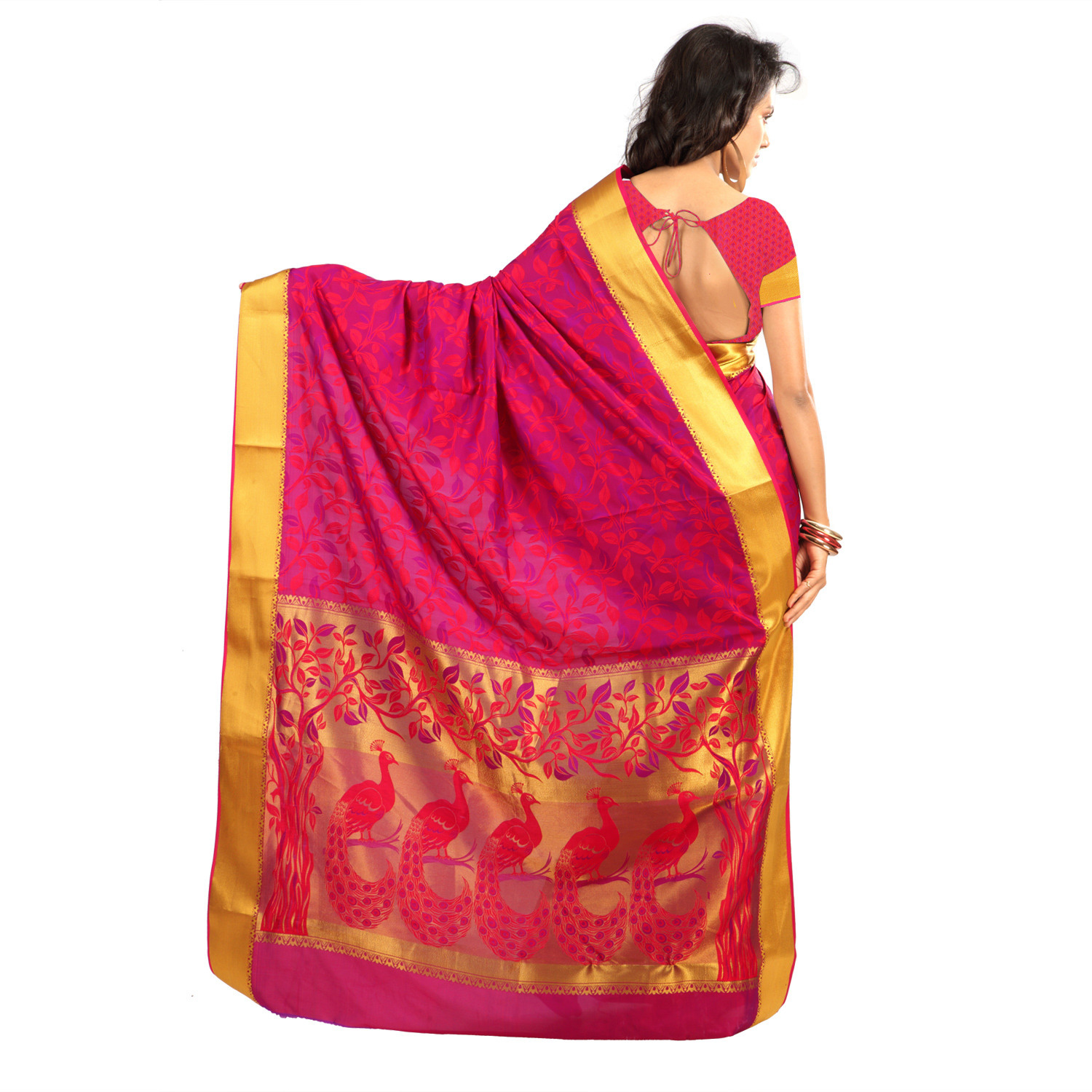 Red - Violet Art Silk Temple Motif Saree