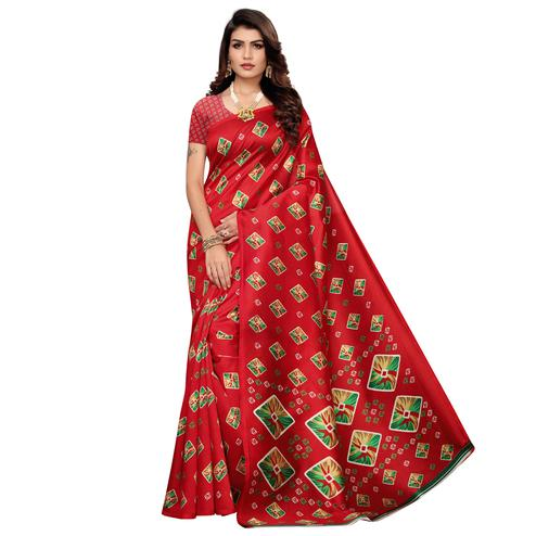 Excellent Red Colored Casual Printed Mysore Art Silk Saree