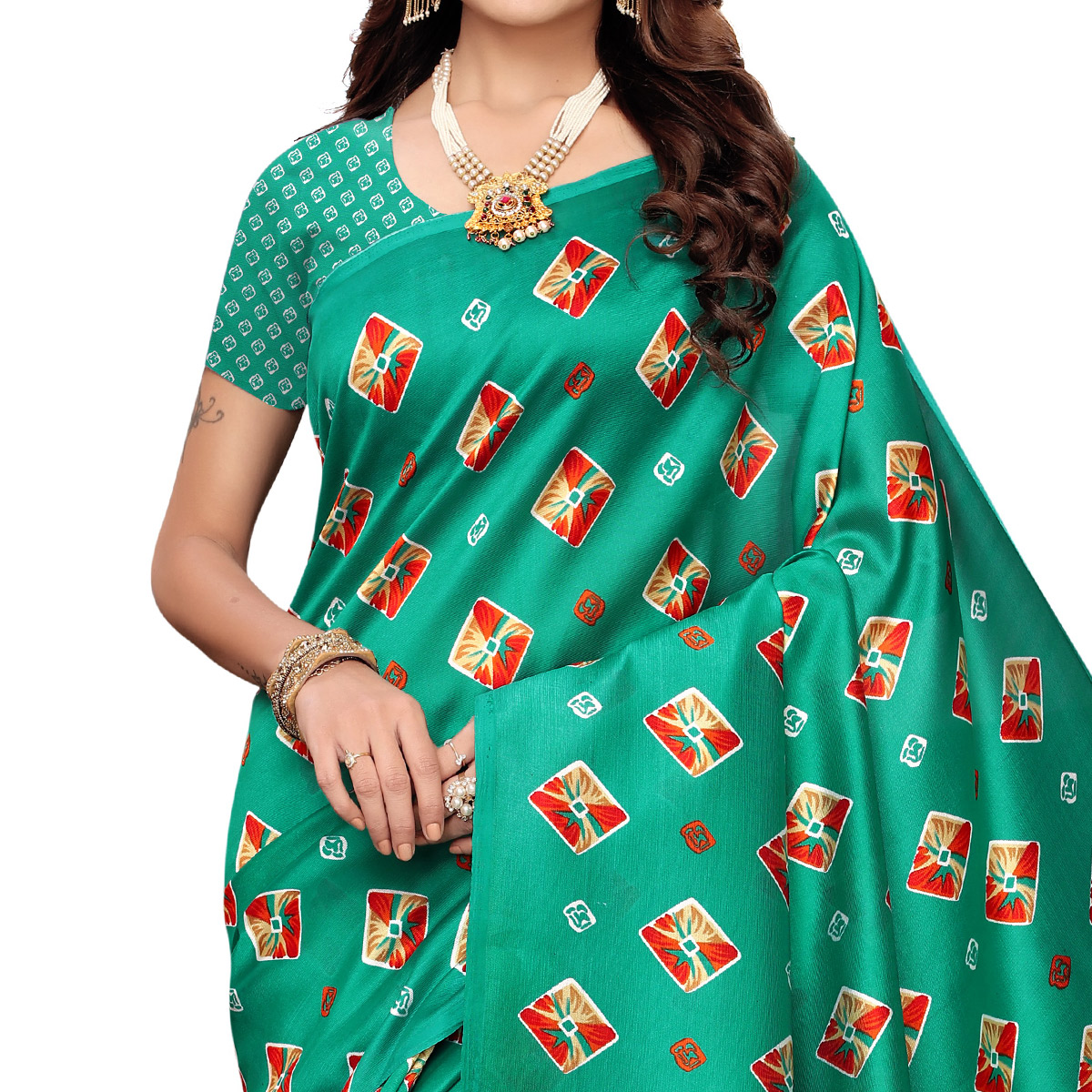 Preferable Turquoise Green Colored Casual Printed Mysore Art Silk Saree