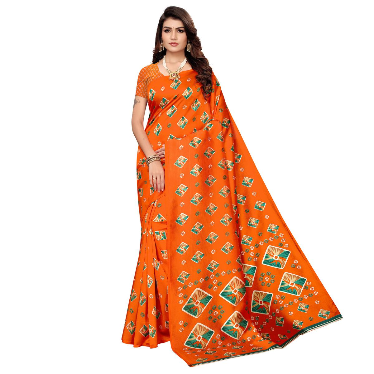 Marvellous Dark Orange Colored Casual Printed Mysore Art Silk Saree
