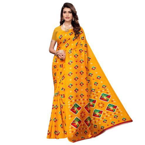 Flamboyant Orange Colored Casual Printed Mysore Art Silk Saree