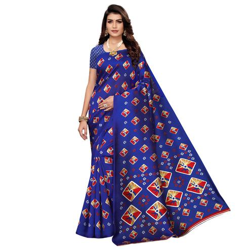 Pretty Blue Colored Casual Printed Mysore Art Silk Saree