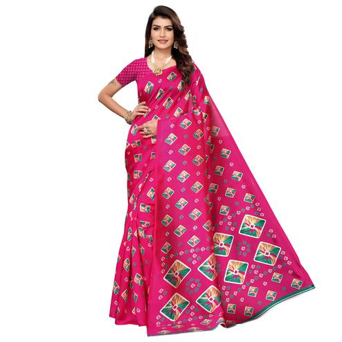 Alluring Pink Colored Casual Printed Mysore Art Silk Saree