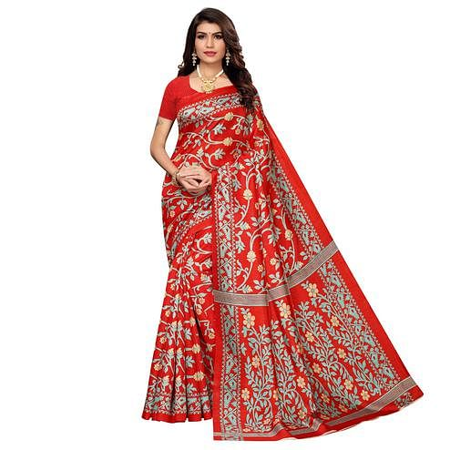 Classy Red Colored Casual Printed Zoya Silk Saree
