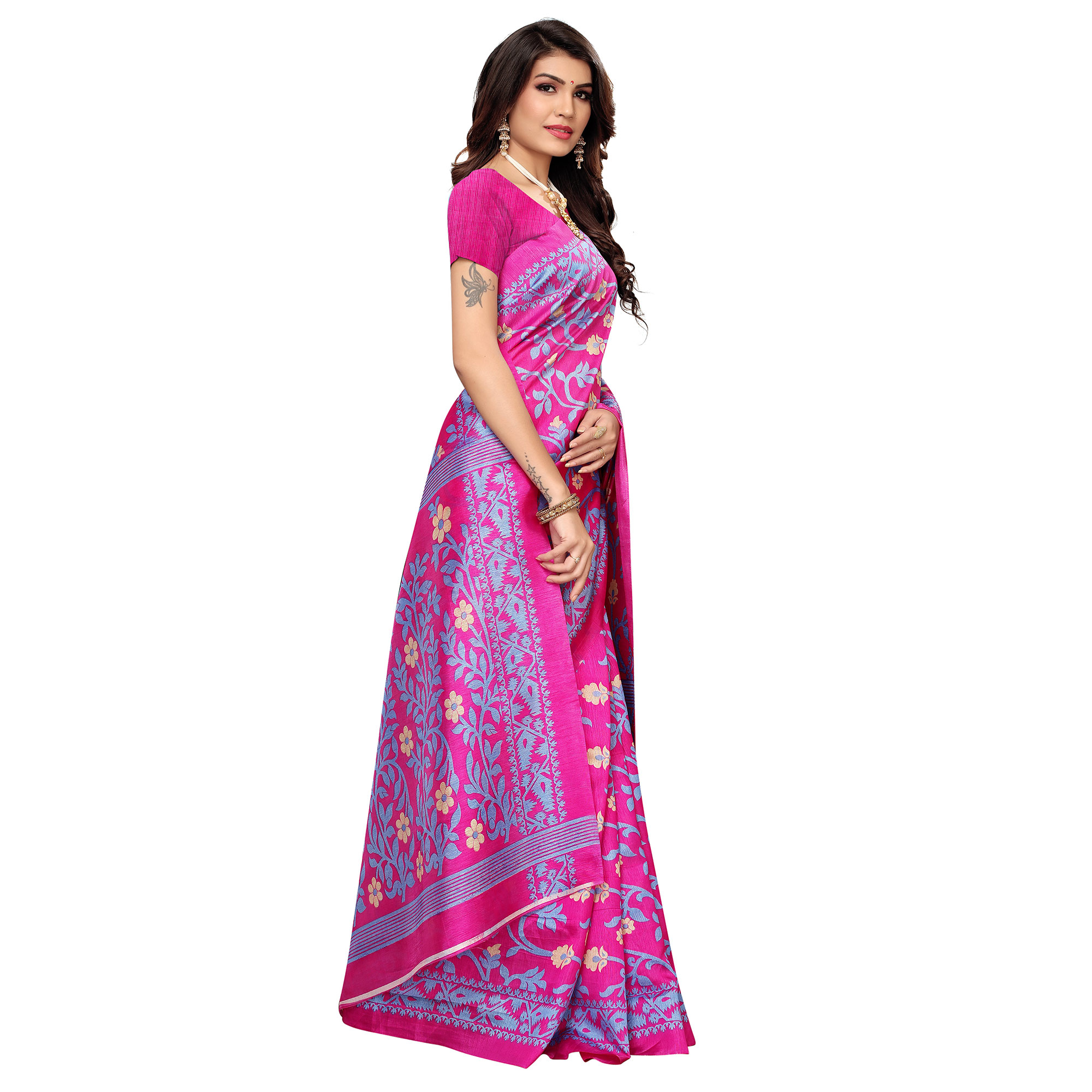 Prominent Pink Colored Casual Printed Zoya Silk Saree