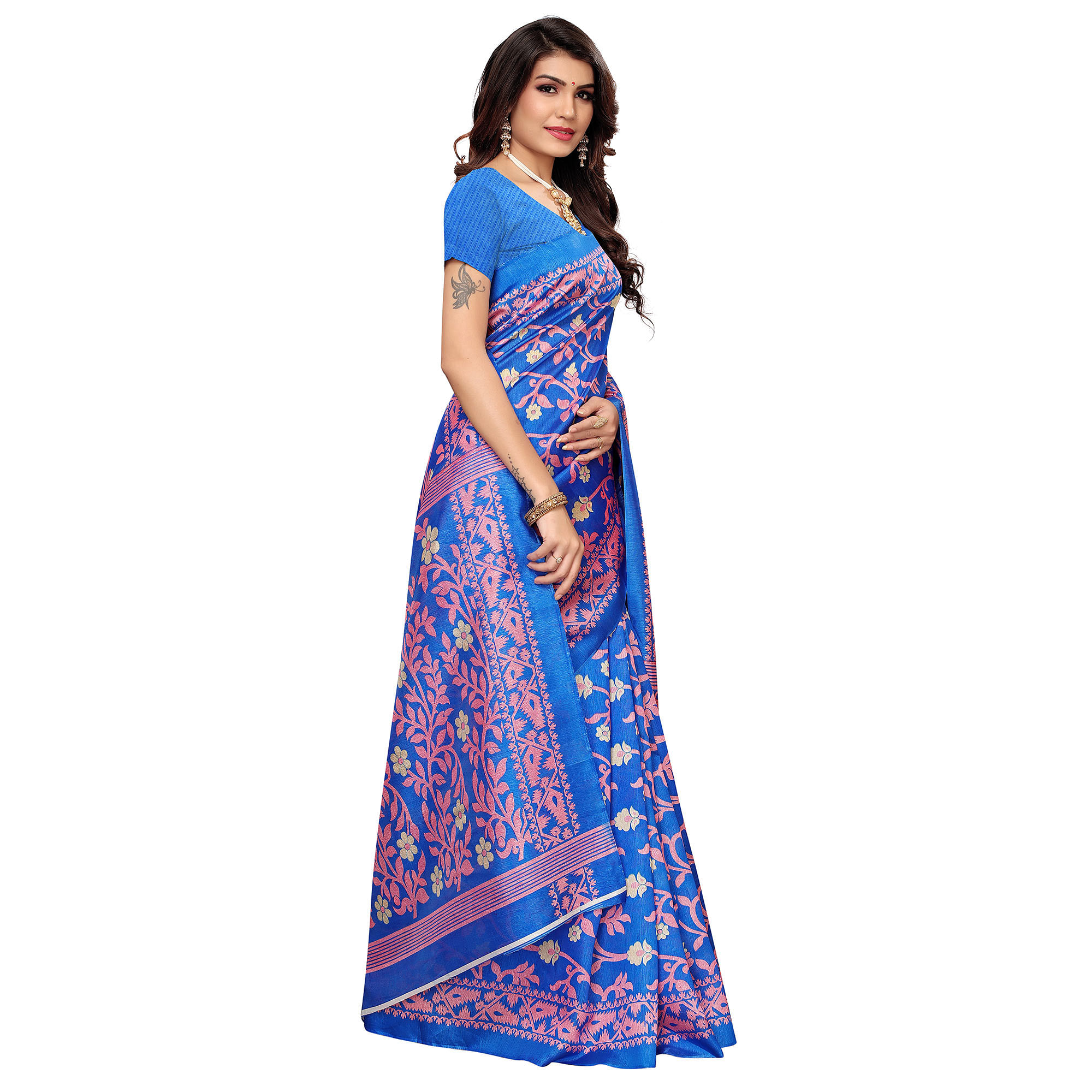 Appealing Blue Colored Casual Printed Zoya Silk Saree