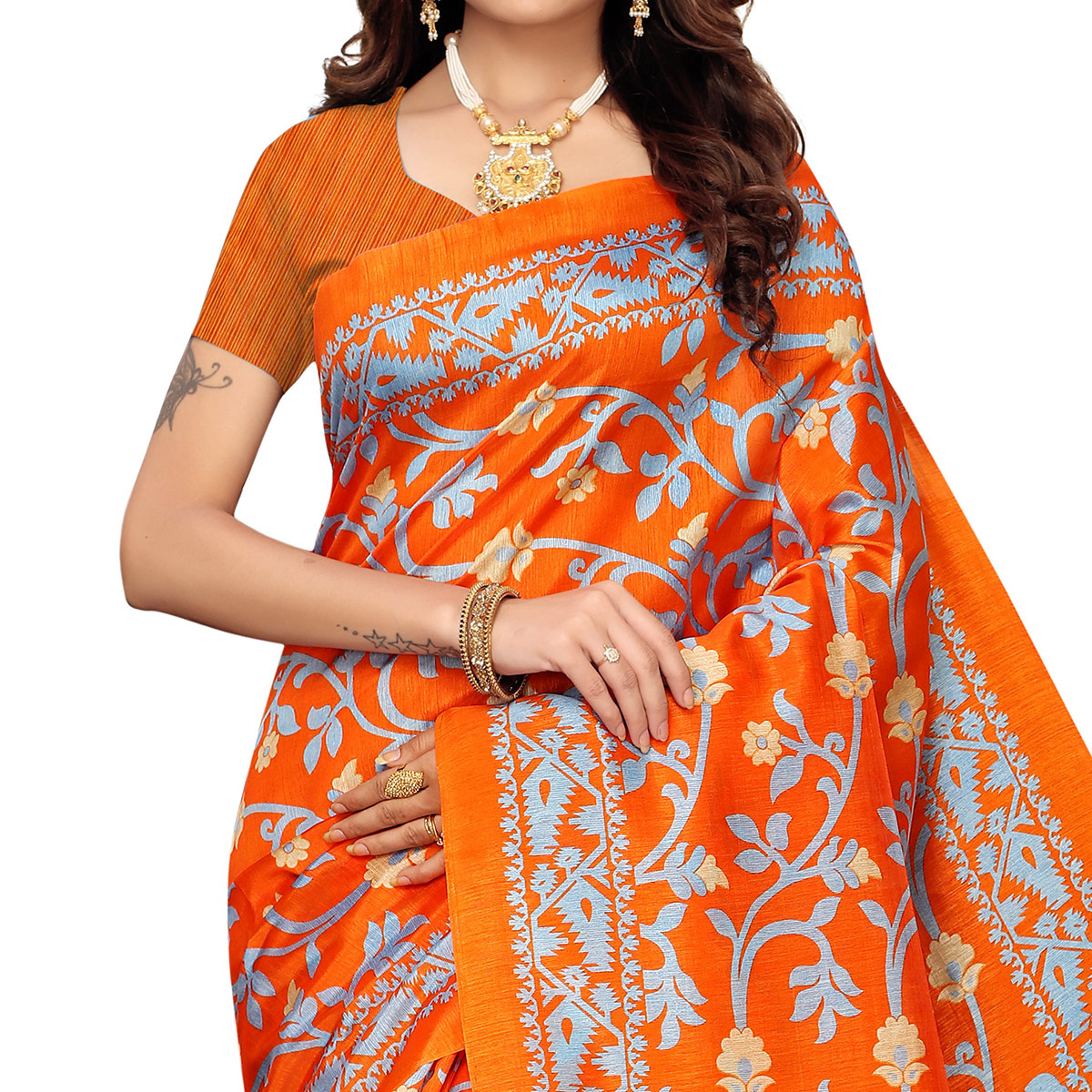 Capricious Orange Colored Casual Printed Zoya Silk Saree