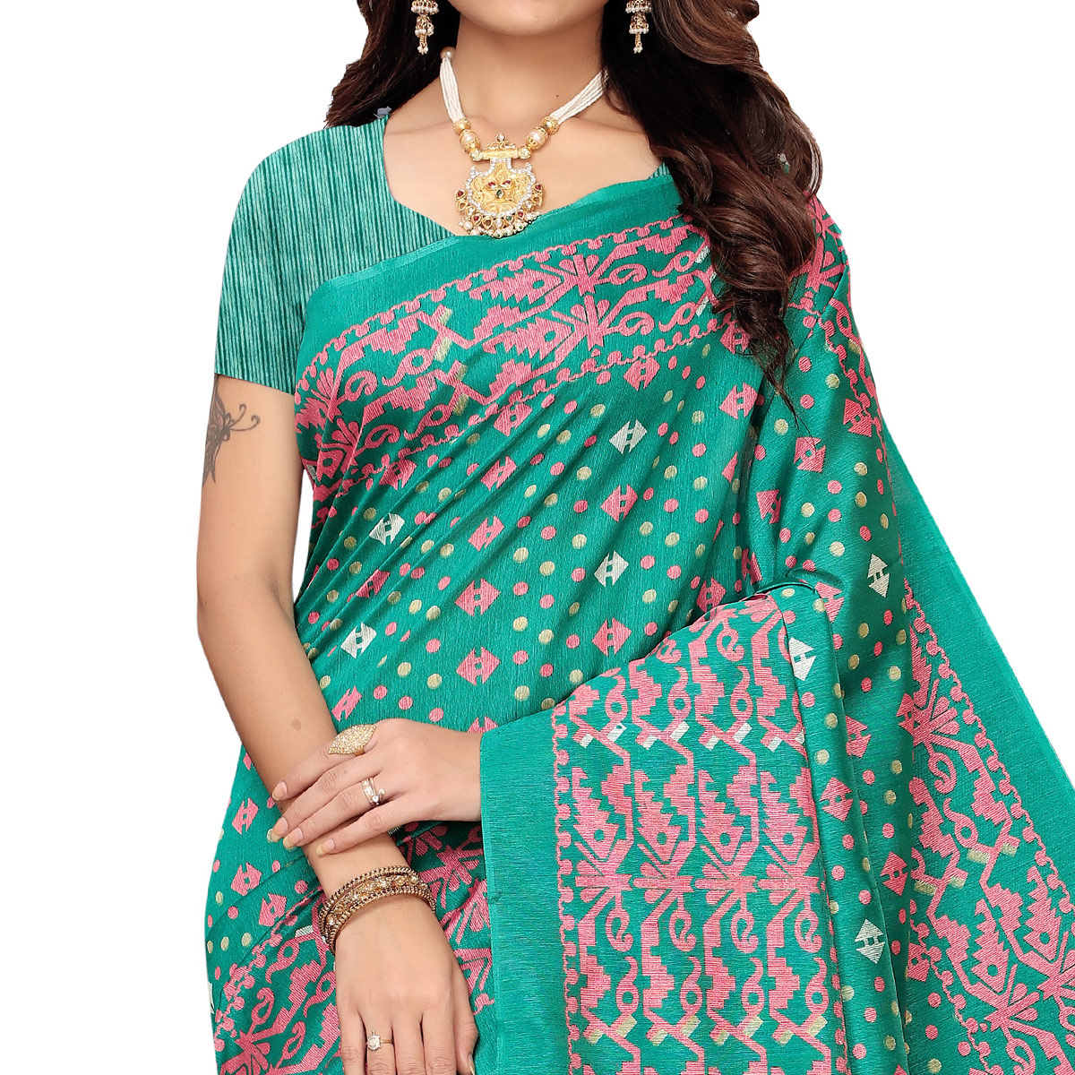 Groovy Turquoise Green Colored Casual Printed Zoya Silk Saree