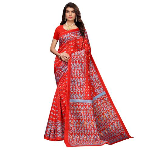 Exclusive Red Colored Casual Printed Zoya Silk Saree