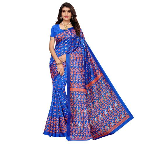 Entrancing Blue Colored Casual Printed Zoya Silk Saree