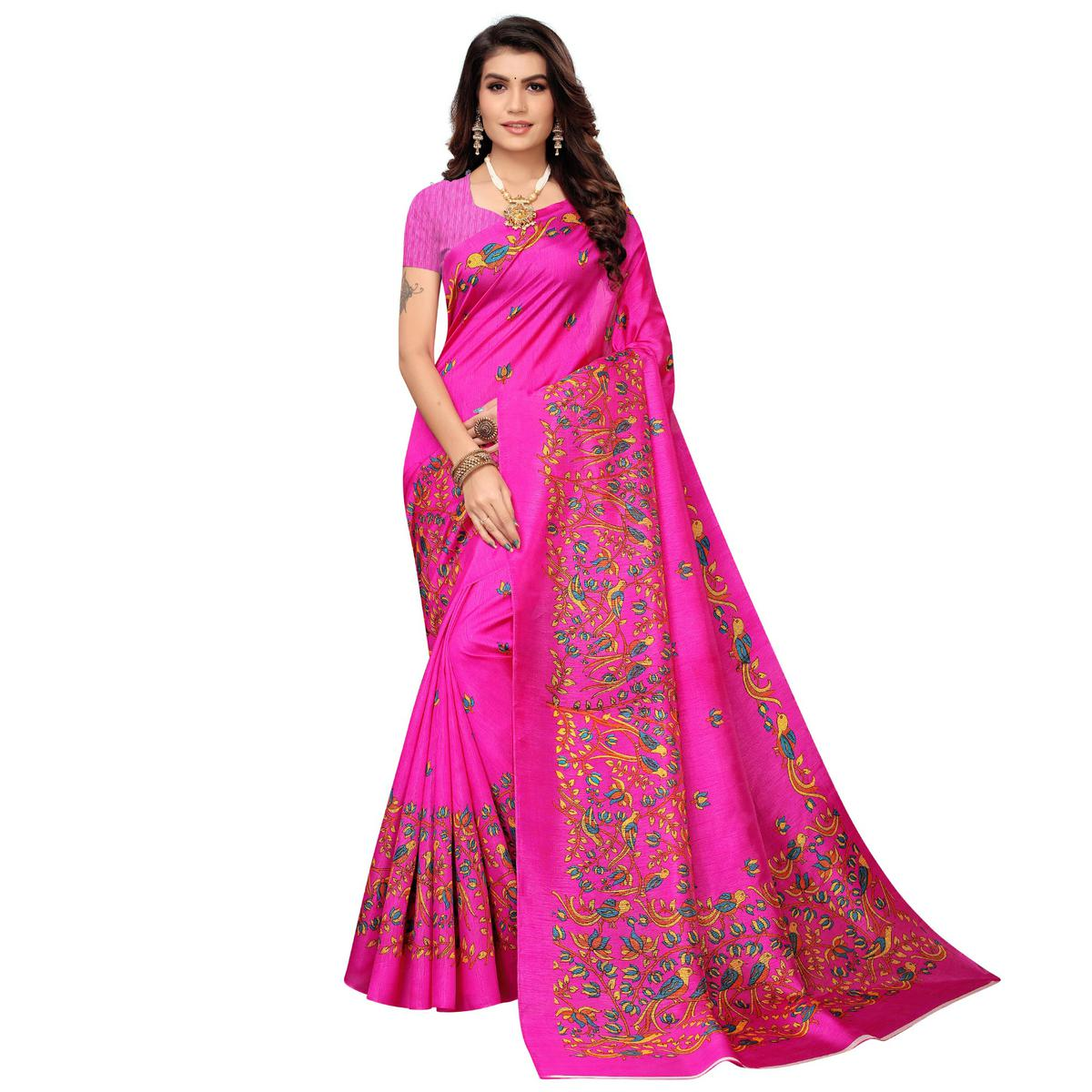 Adorable Pink Colored Casual Printed Zoya Silk Saree