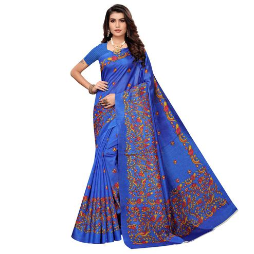 Glorious Blue Colored Casual Printed Zoya Silk Saree