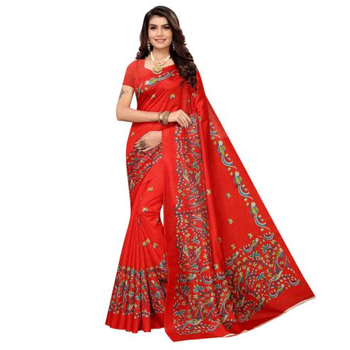Attractive Red Colored Casual Printed Zoya Silk Saree