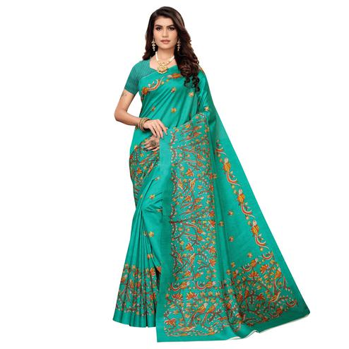 Beautiful Turquoise Green Colored Casual Printed Zoya Silk Saree