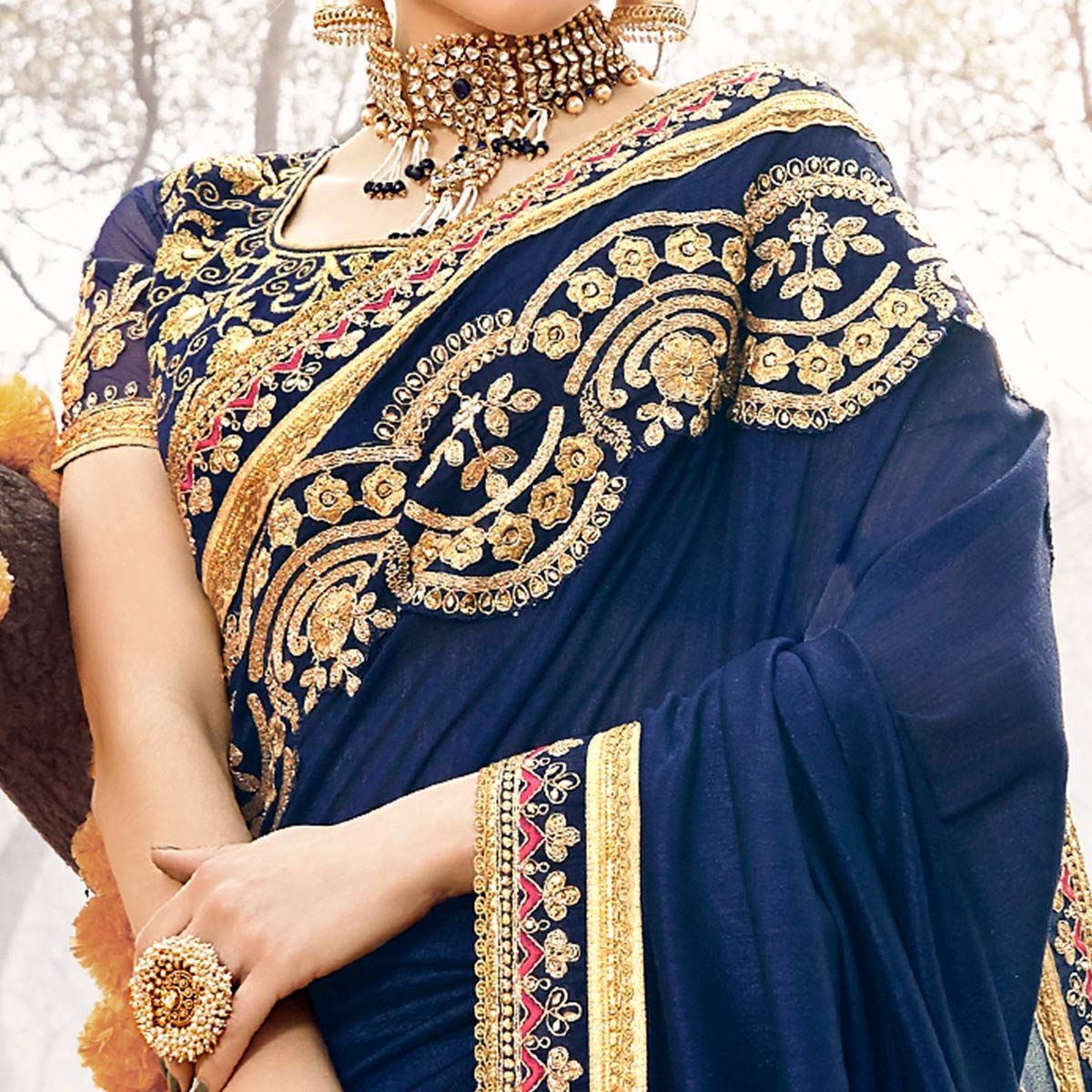Appealing Navy Blue Colored Party Wear Embroidered Georgette Saree