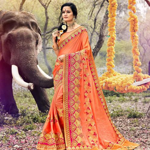 Capricious Peach Colored Party Wear Embroidered Georgette Saree
