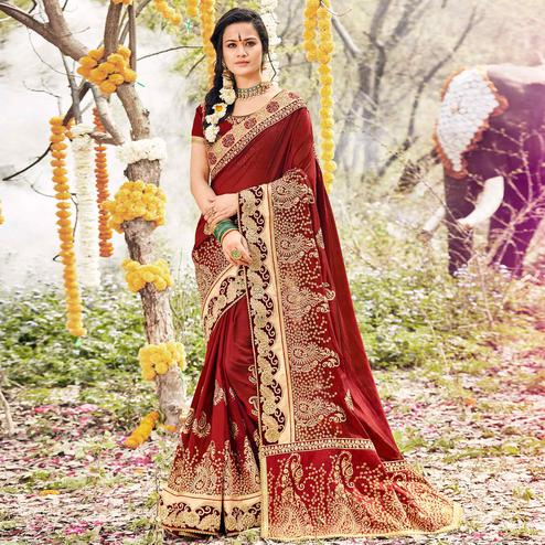 Entrancing Maroon Colored Party Wear Embroidered Georgette Saree