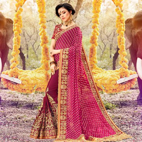 Groovy Dark Pink Colored Party Wear Embroidered Georgette Saree