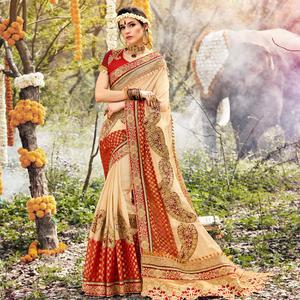 Exclusive Beige Colored Party Wear Embroidered Georgette Saree