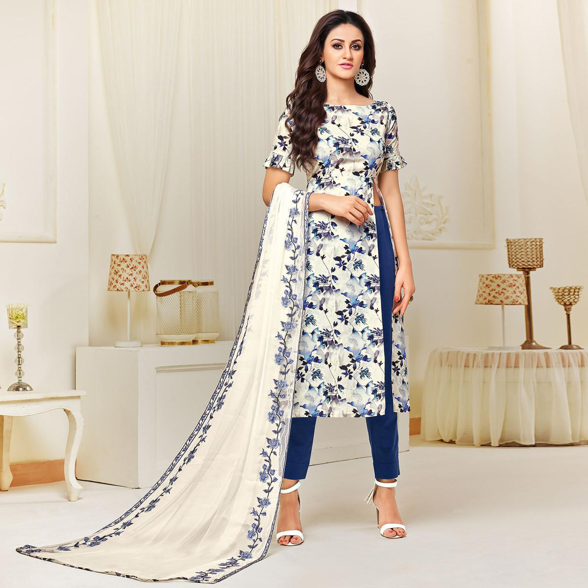 Attractive White Colored Casual Printed Cotton Satin Suit
