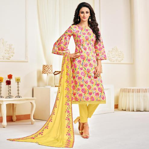 Beautiful Yellow-Pink Colored Casual Printed Cotton Satin Suit