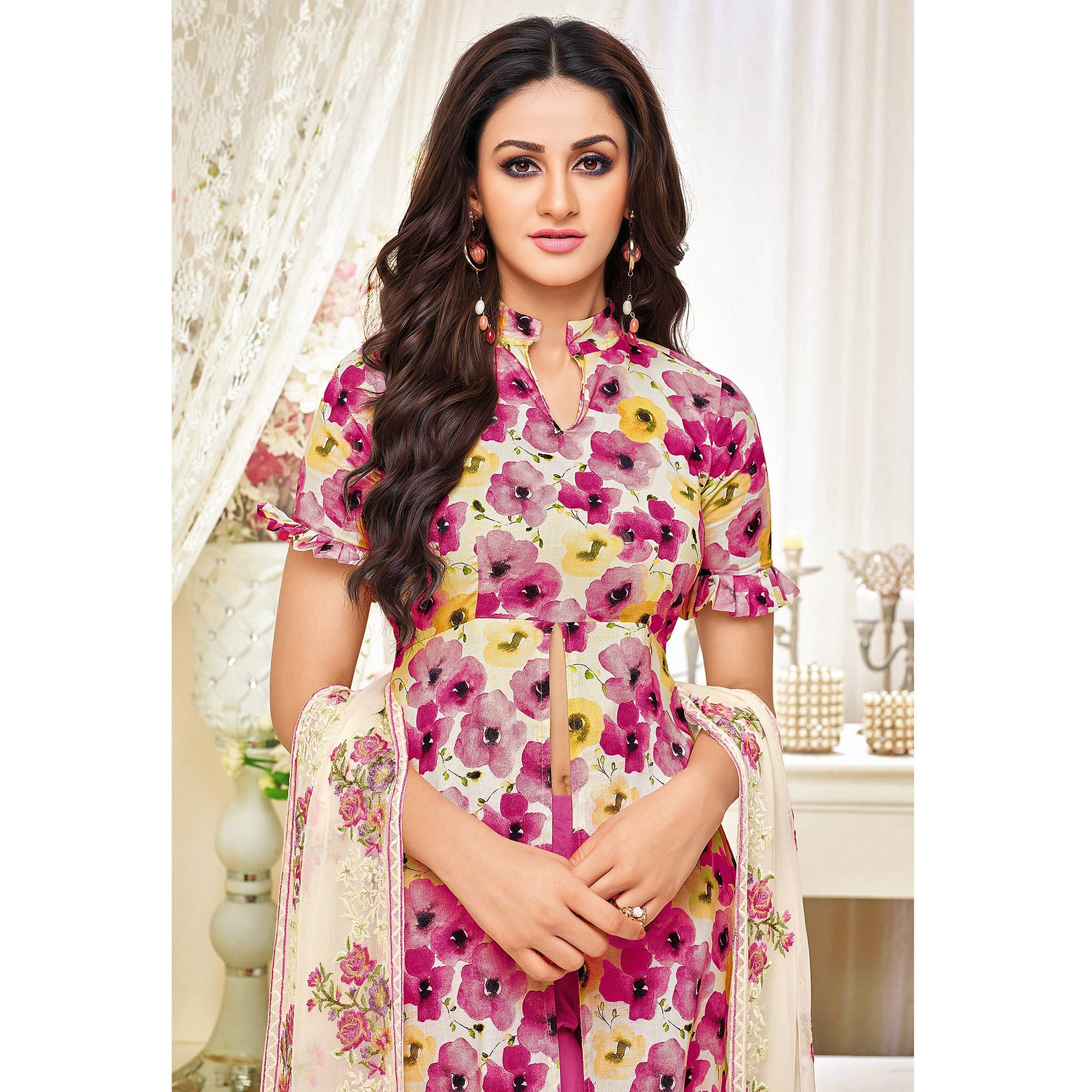 Blooming Pink Colored Casual Printed Cotton Satin Suit