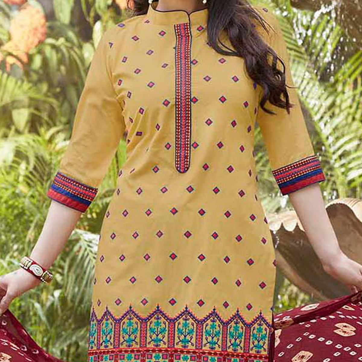 Light Yellow Cotton Patiala Suit