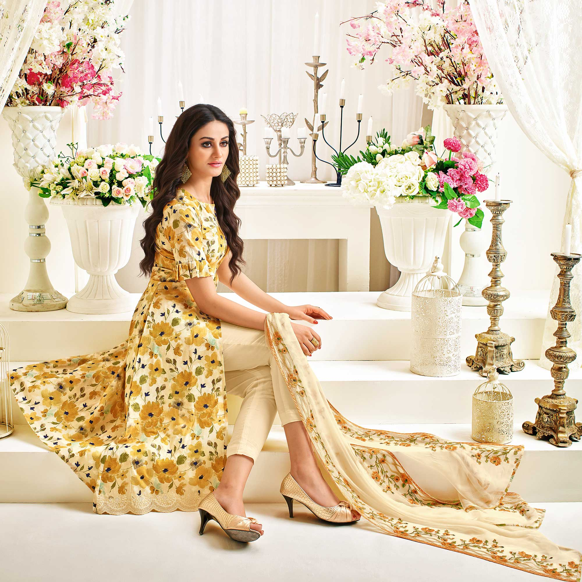 Charming Light Yellow Colored Casual Printed Cotton Satin Suit
