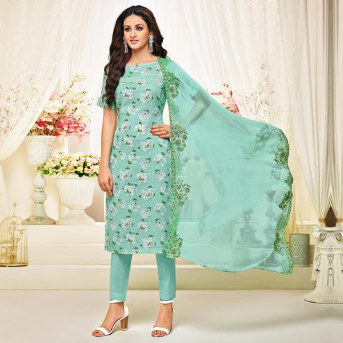 Jazzy Pastel Green Colored Casual Printed Cotton Satin Suit