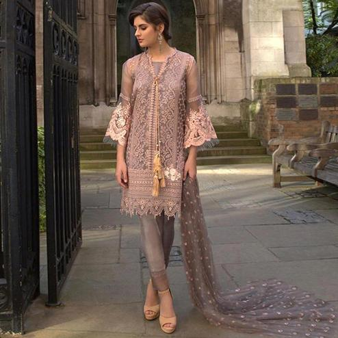 Impressive Mauve Colored Partywear Embroidered Netted Pant Style Suit