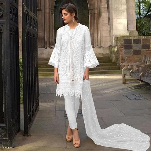 Mesmerising White Colored Partywear Embroidered Netted Pant Style Suit
