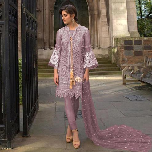 Pleasance Purple Colored Partywear Embroidered Netted Pant Style Suit